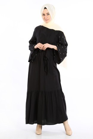 - Taş Detaylı Elbise 4076-05