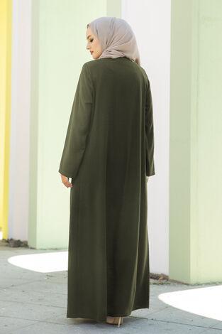 Taş Detaylı Abaya Ferace Haki - Thumbnail