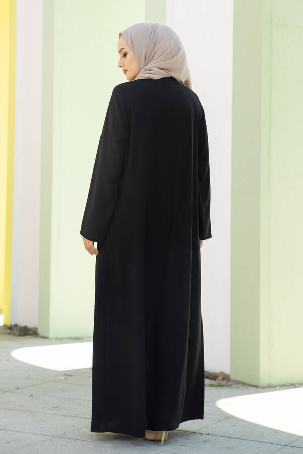 Taş Detaylı Abaya Ferace Siyah