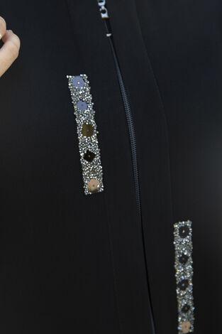 Taş Detaylı Abaya Ferace Siyah - Thumbnail