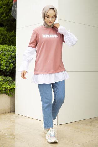 Taş Detaylı Tesettür Gömlek Tunik Gülkurusu - Thumbnail