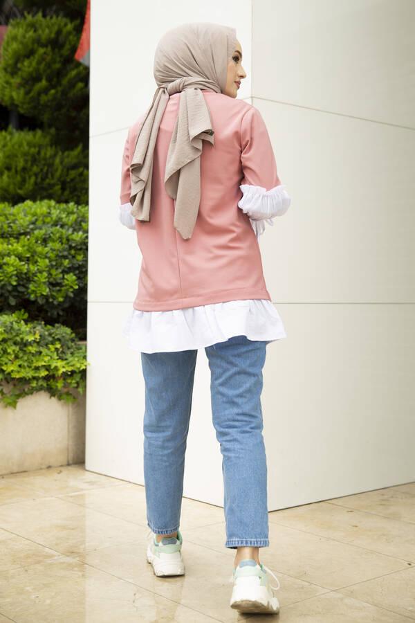 Taş Detaylı Tesettür Gömlek Tunik Gülkurusu
