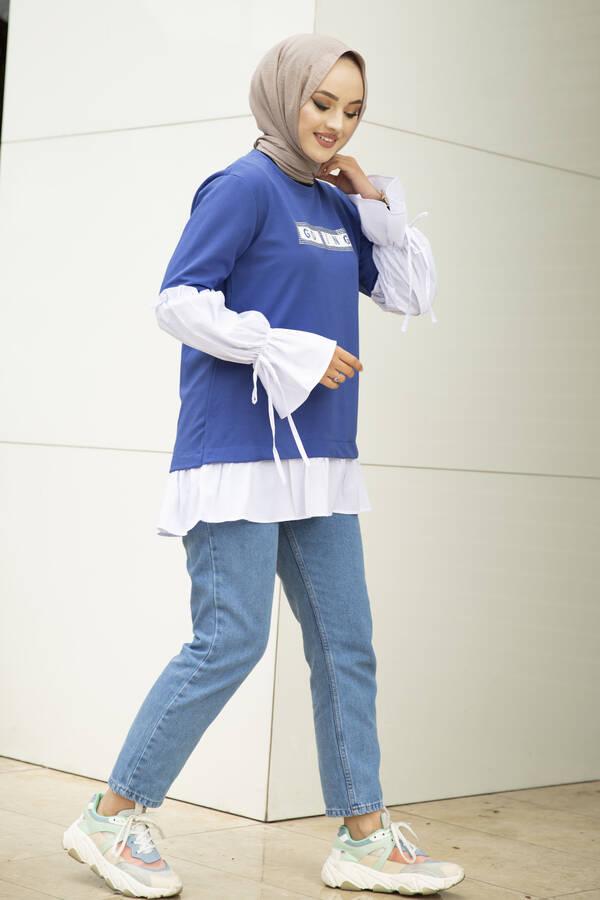 Taş Detaylı Tesettür Gömlek Tunik İndigo