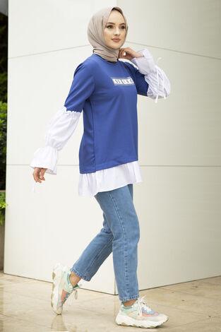 Taş Detaylı Tesettür Gömlek Tunik İndigo - Thumbnail