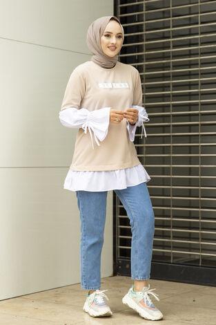 Taş Detaylı Tesettür Gömlek Tunik Krem - Thumbnail