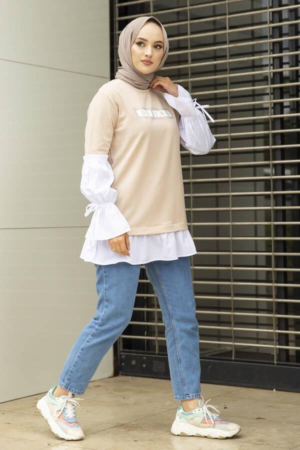Taş Detaylı Tesettür Gömlek Tunik Krem