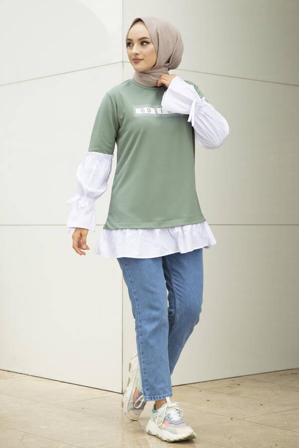Taş Detaylı Tesettür Gömlek Tunik Mint