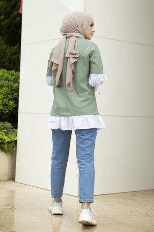 Taş Detaylı Tesettür Gömlek Tunik Mint - Thumbnail