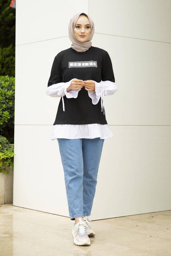 Taş Detaylı Tesettür Gömlek Tunik Siyah
