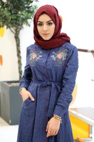 - Taşlanmış Kot Elbise 8980-1 (1)
