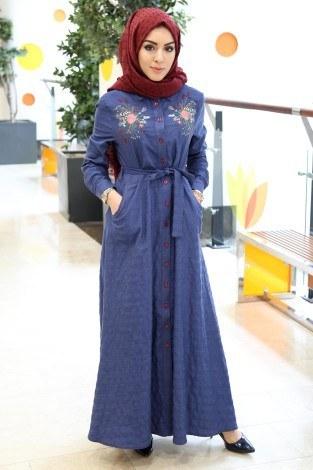 - Taşlanmış Kot Elbise 8980-1