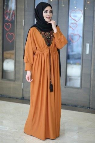 Taşlı Nakışlı Elbise 8385-2 - Thumbnail