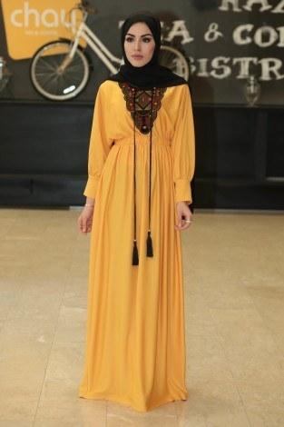 - Taşlı Nakışlı Elbise 8385-8
