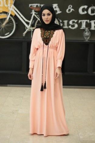 - Taşlı Nakışlı Elbise 8385-10