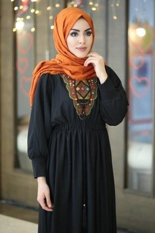- Taşlı Nakışlı Elbise 8385-7-siyah (1)