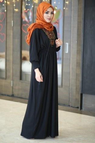 Taşlı Nakışlı Elbise 8385-7-siyah - Thumbnail