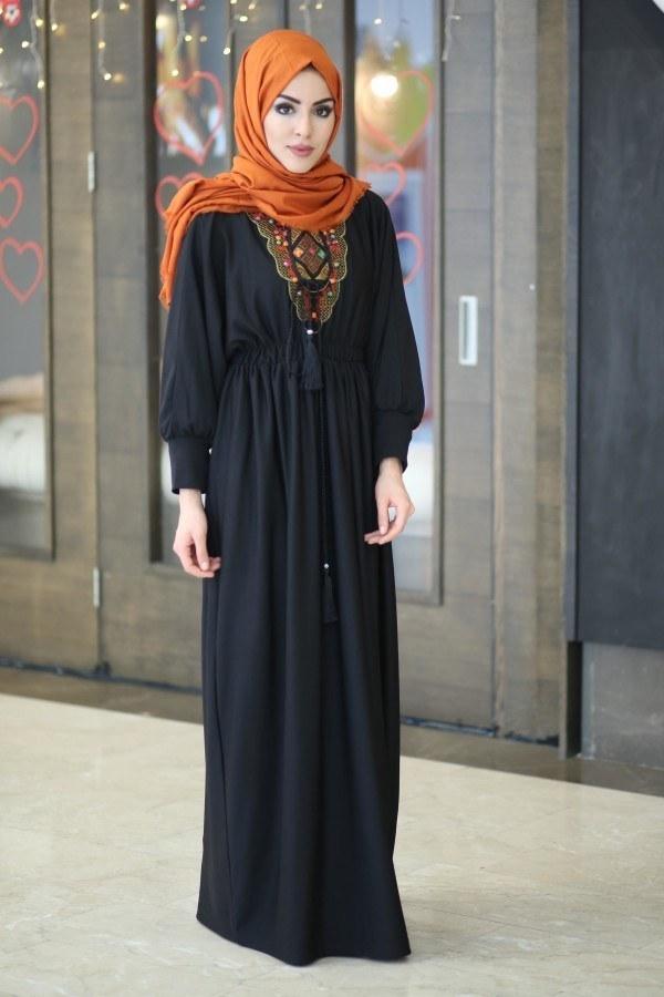 Taşlı Nakışlı Elbise 8385-7-siyah