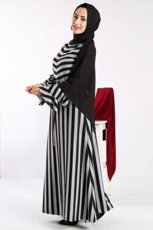 - Geniş Çizgili Elbise 5789-01