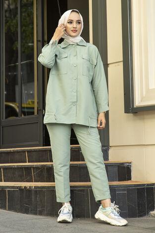 Tesettür Tarz Gömlek Pantolon Takım Mint - Thumbnail