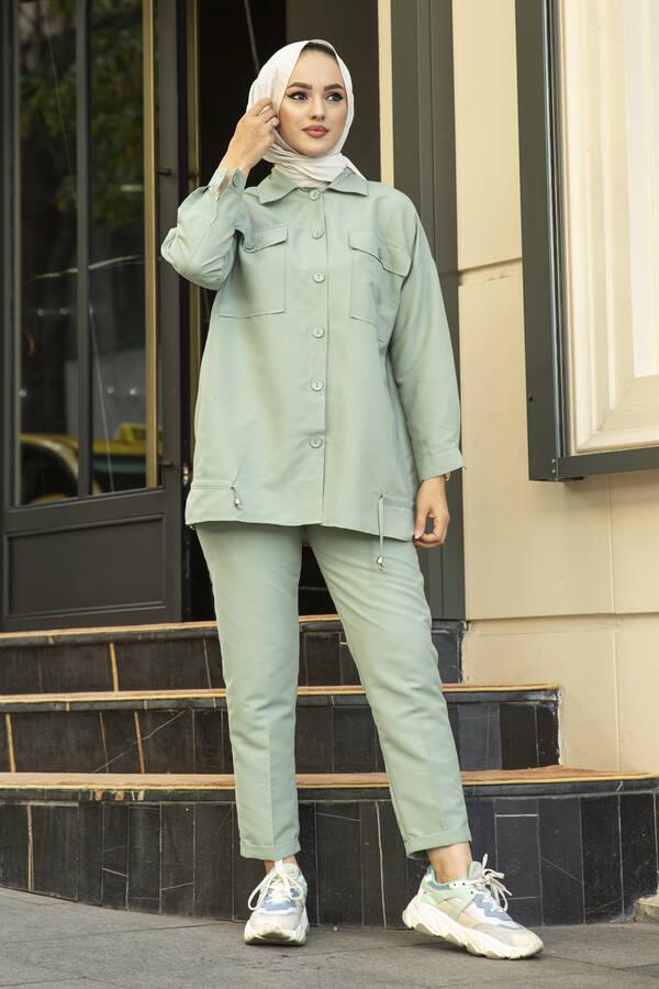Tesettür Tarz Gömlek Pantolon Takım Mint