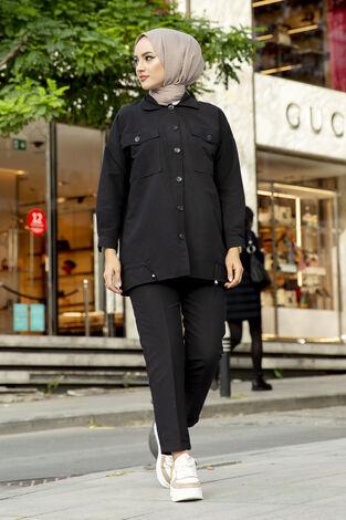 Tesettür Tarz Gömlek Pantolon Takım Siyah - Thumbnail