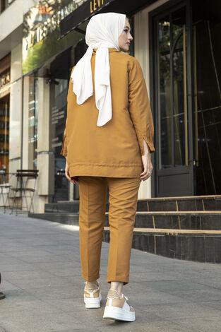 Tesettür Tarz Gömlek Pantolon Takım Taba - Thumbnail