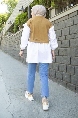 Triko Detaylı Gömlek Bej - Thumbnail