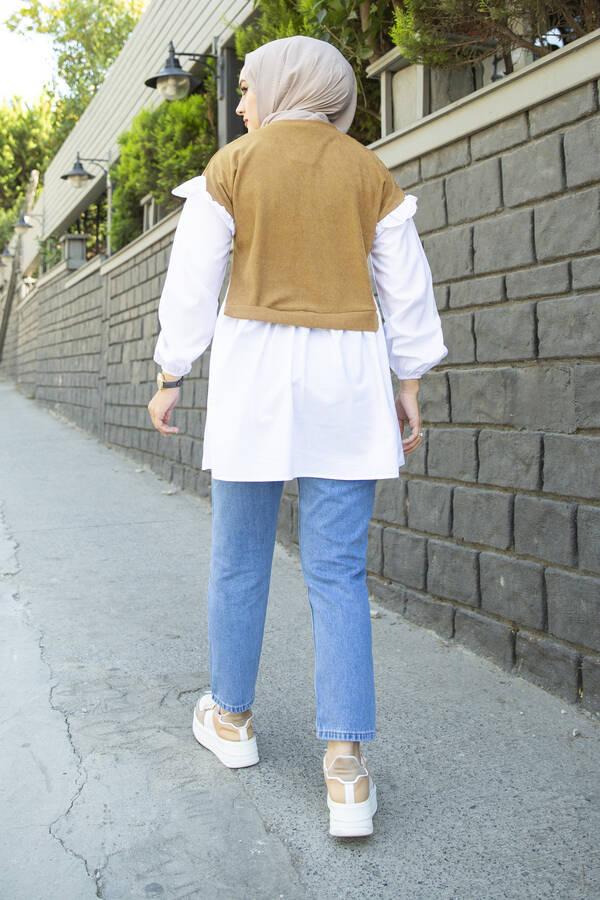 Triko Detaylı Gömlek Bej