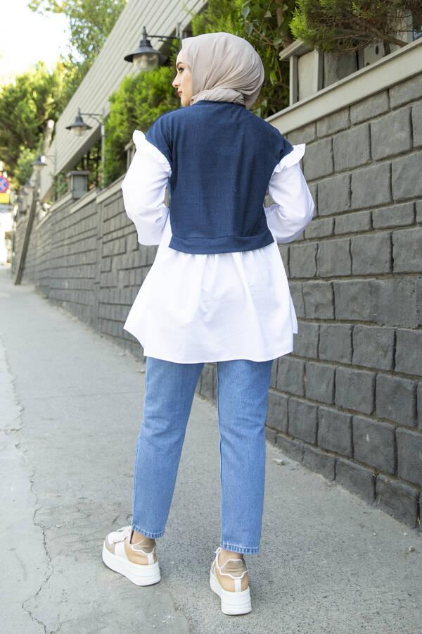 Triko Detaylı Gömlek İndigo