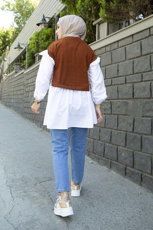 Triko Detaylı Gömlek Taba - Thumbnail