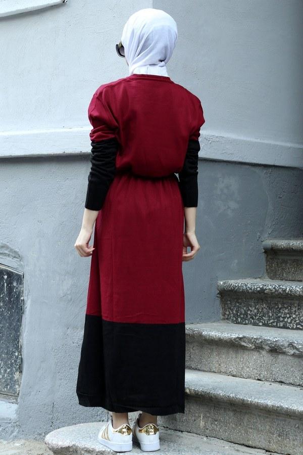 Yazı Baskılı Triko Elbise 1040-05