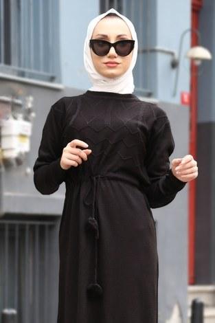 - Triko Elbise 1060-01 siyah (1)