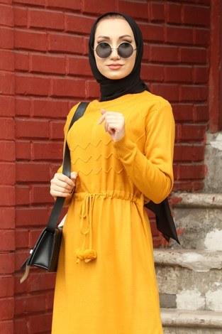 - Triko Elbise 1060-10 sarı (1)