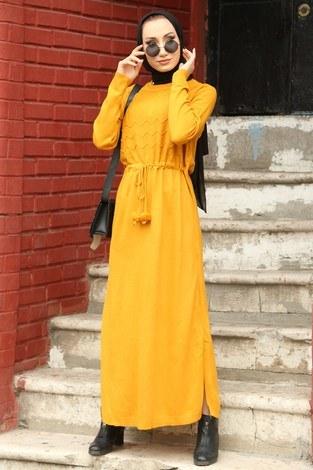 - Triko Elbise 1060-10 sarı