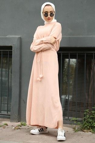 - Triko Elbise 1060-09 pembe