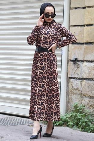 - Leopar desenli Elbise SG2388-25 leopar