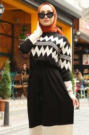 - Triko Elbise 1070-01 siyah (1)