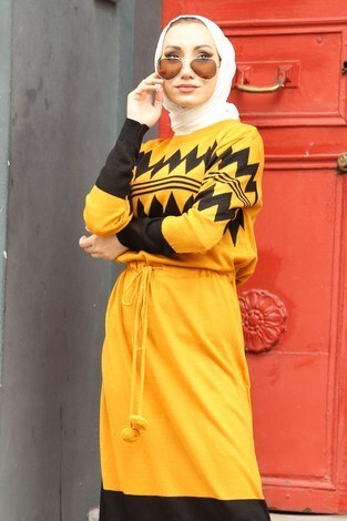 - Triko Elbise 1070-10 sarı (1)