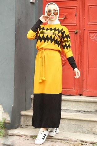 - Triko Elbise 1070-10 sarı