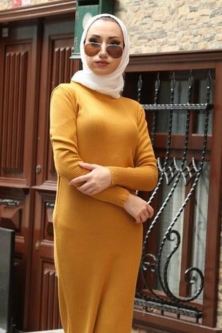 - Triko Elbise 12100-10 hardal (1)