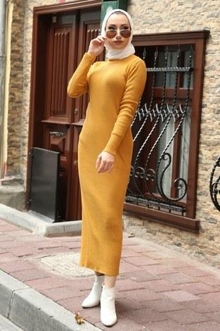 - Triko Elbise 12100-10 hardal
