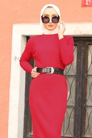 - Triko Elbise 12100-05 kırmızı (1)