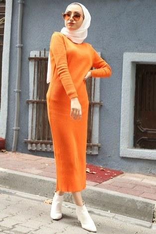 - Triko Elbise 12100-07 turuncu