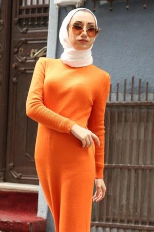 - Triko Elbise 12100-07 turuncu (1)