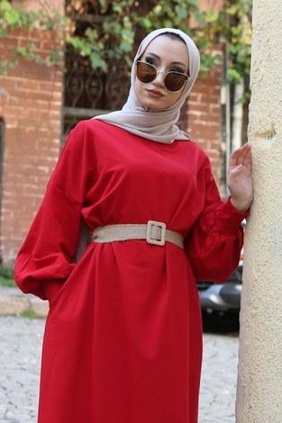- Balon Kol Elbise 2367-05 kırmızı (1)
