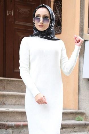 - Triko Elbise 12100-14 beyaz (1)