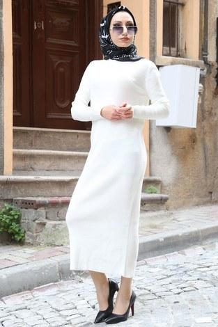 - Triko Elbise 12100-14 beyaz