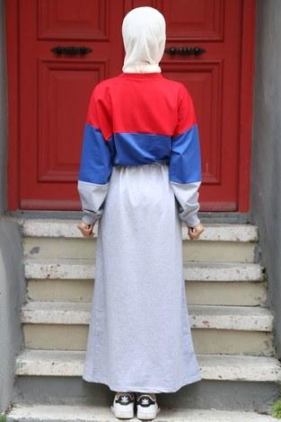 Beli Büzgülü Spor Elbise 2502-05 - Thumbnail