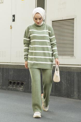 Çizgili Triko İkili Takım Yeşil - Thumbnail