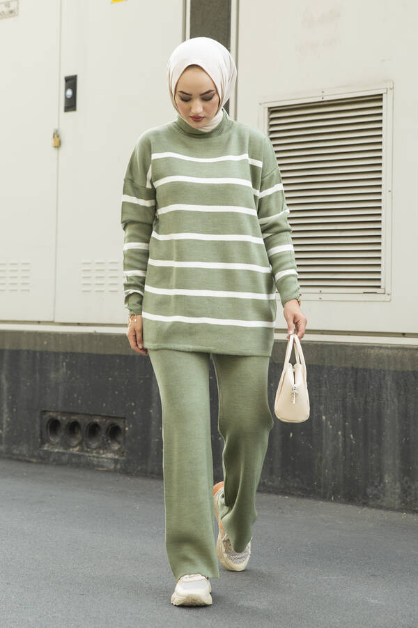 Çizgili Triko İkili Takım Yeşil